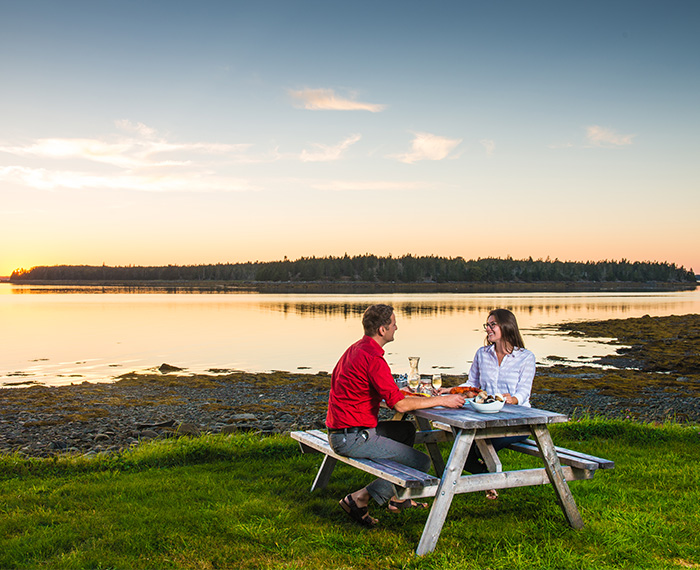 Dining at Sunset on Lobster Bay